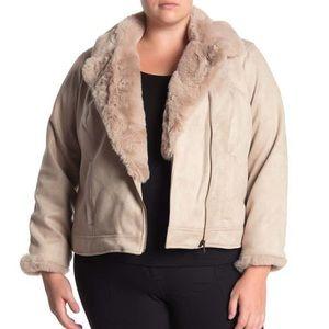 CATHERINE MALANDRINO Moto Jacket Faux Fur & Suede